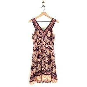 Anthropologie Cour Royal V-Neck Fit & Flare Dress